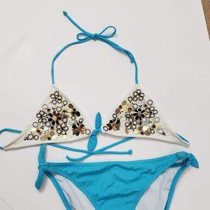 Victoria Secrets White/Turquoise Bikini SZ Small